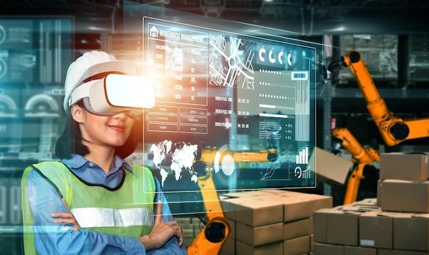 Tecnologia del futuro della realtà virtuale per una gestione innovativa del magazzino vr