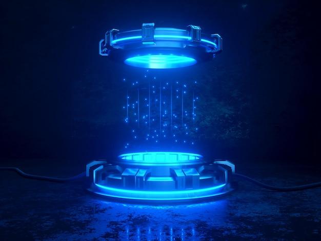 Futuristico 3d rendering mockup. illustrazione del tema dello spazio. piattaforme informatiche e cavi con luci al neon luminose.