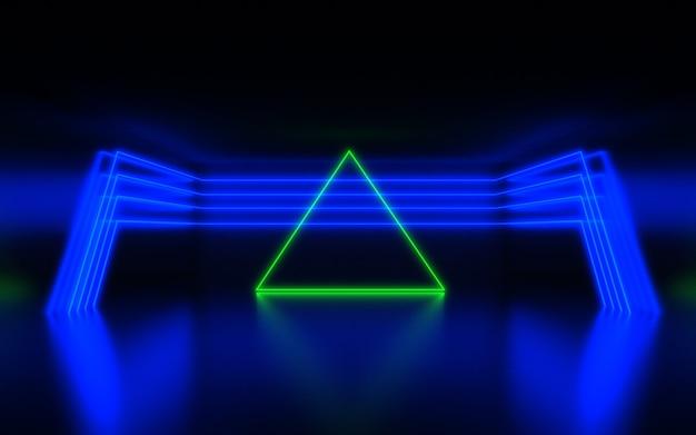 Sfondo astratto futuristico. stanza con luce al neon. sfondo astratto 3d