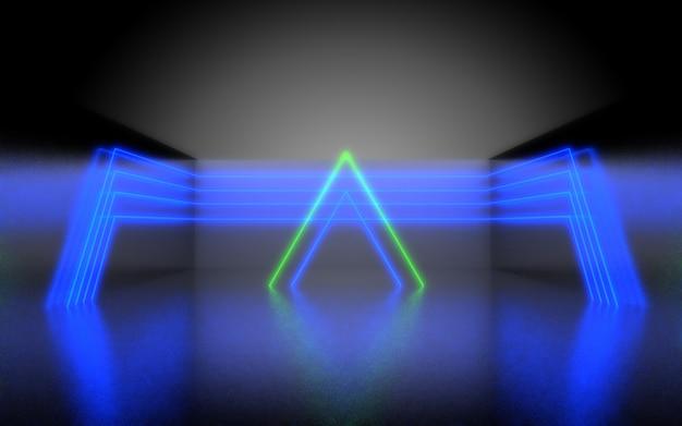 Sfondo astratto futuristico. stanza con luce al neon. illustrazione 3d