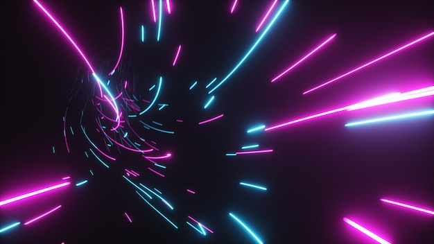 Volo astratto futuristico in un tunnel luminoso con linee luminose