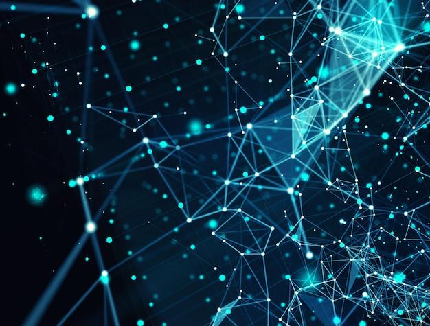Sfondo di rete di connessione internet futuristico astratto con effetti di movimento