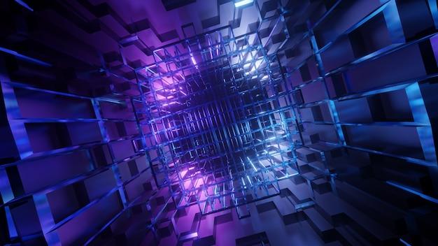 Tunnel geometrico sotterraneo astratto futuristico con blu viola