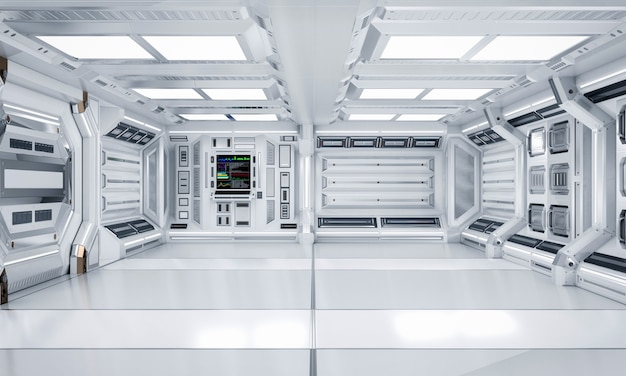 Interno futuristico di corridoio e del corridoio di fantascienza di architettura, rappresentazione 3d