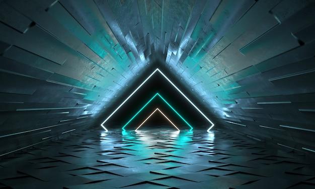 Sfondo futuristico con forme al neon di un triangolo e di un riflesso. tunnel vuoto con luce al neon. rendering 3d