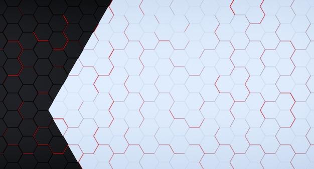 Griglia esagonale futuristica in bianco e nero con lampi rossi sotto