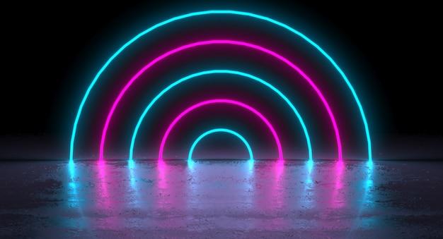 Tubi futuristici di forma rotonda del cerchio al neon rosa porpora blu futuristico sulla riflessione