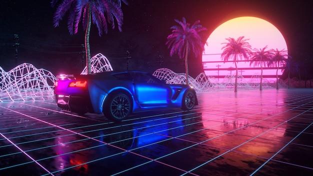 Futuristica auto attraverso lo spazio astratto al neon.