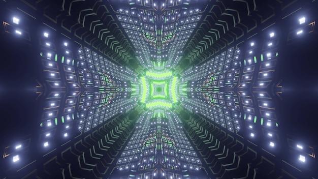 Tunnel cosmico futuristico con elemento geometrico al neon verde e pareti luminose nell'illustrazione 3d
