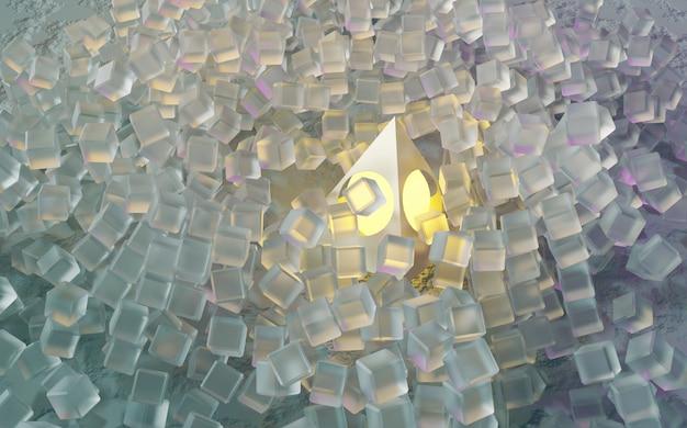 Cubi futuristici con illuminazione sfera sfondo astratto concetto