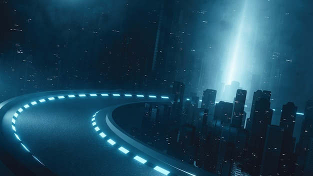 Strada curva futuristica che attraversa la mega città di notte