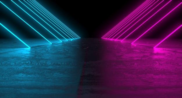 Futuristico podio scuro con luci blu e rosa