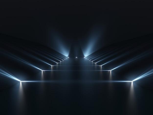 Futuristico podio scuro con superficie di luce e riflessione