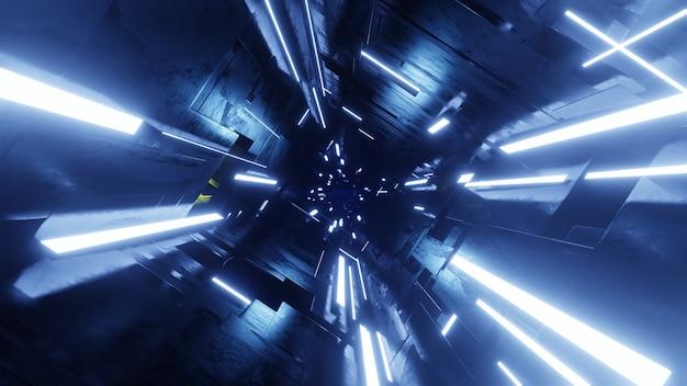 Tunnel scuro futuristico con luce al neon. illustrazione di rendering 3d.