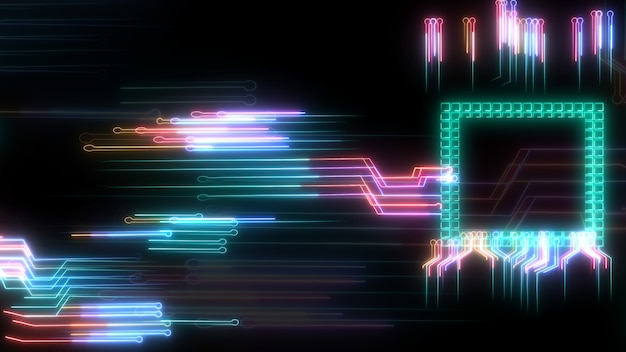 Tecnologia di elaborazione dei dati del chip intelligente digitale futuristico circuito laser di sfocatura a trasferimento ad alta velocità e piena potenza