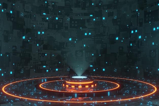 Rendering 3d dell'astronave della fase del podio del portale dell'ologramma della tecnologia digitale futuristica