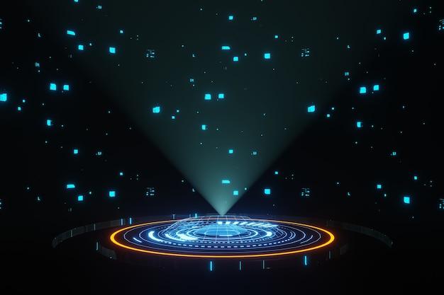 Rendering 3d dell'astronave del palcoscenico del podio del portale dell'ologramma hud della tecnologia digitale futuristica