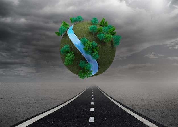 Terra futuristica fluttuante nell'aria