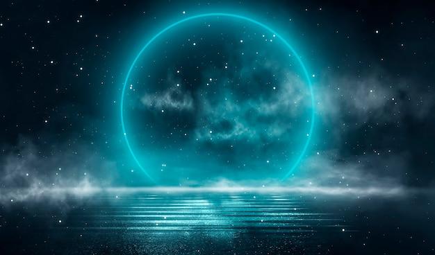 Paesaggio notturno fantasy futuristico con paesaggio astratto al chiaro di luna che brilla scena naturale scura natural