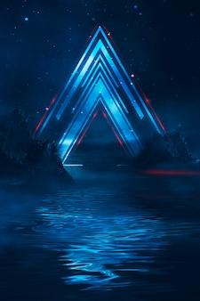 Paesaggio notturno di fantasia futuristica con riflesso della luce nell'acqua. neon spazio galassia portale 3d illustrazione