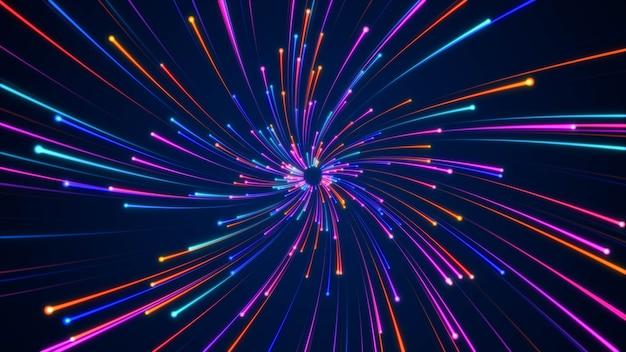 Raggio di luce di particelle blu in rapido movimento futuristico, sfondo di movimento della tecnologia dell'iperspazio dinamico digitale, tunnel di curvatura della velocità della galassia