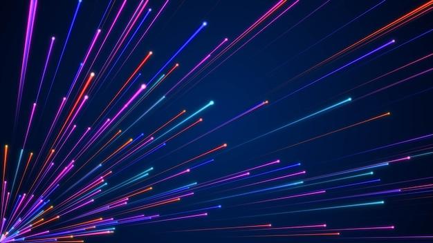 Raggio di luce futuristico di particelle blu in rapido movimento, sfondo di movimento della tecnologia dell'iperspazio dinamico digitale, tunnel di curvatura della velocità della galassia