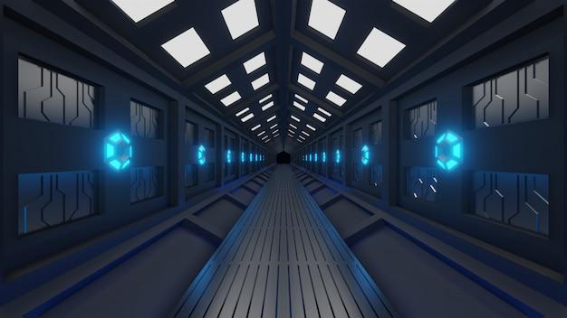 Tunnel esagonale futuristico in navicella spaziale con passeggiata spaziale luce blu morbida, lampade sulle pareti del corridoio