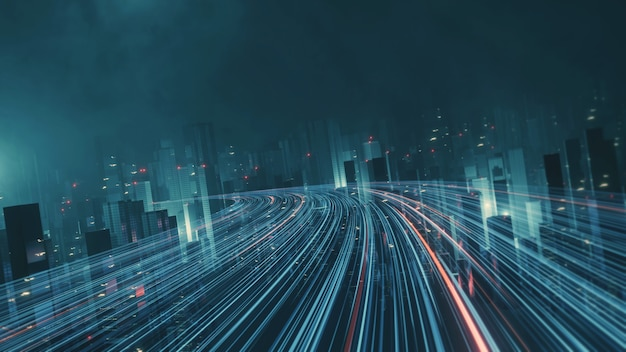 Autostrada futuristica che attraversa mega città