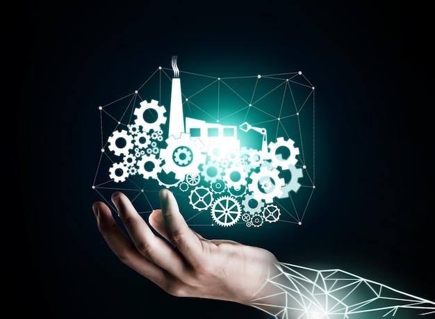 Concetto futuristico di ingegneria dell'industria 4.0.
