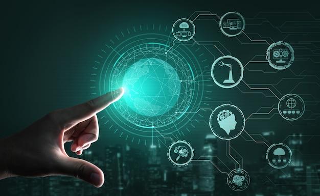 Futuristico concetto di ingegneria industria 4.0.