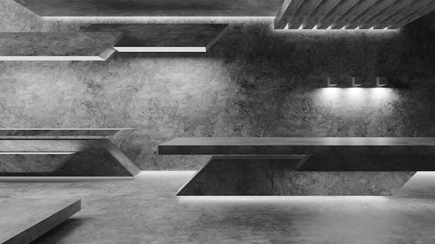 Futuristico interni geometria concreta piano camera moderna costruzione architettura design astratto per il rendering 3d di sfondo.