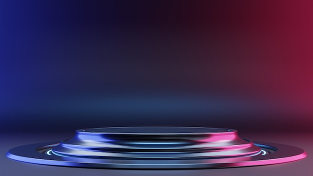 Interni futuristici con podio vuoto e luci al neon