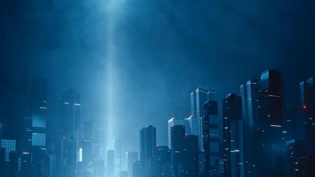 La mega città futuristica di notte con la testa del raggio si illumina nel cielo nuvoloso