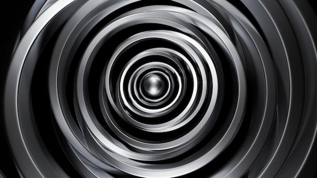 Futuristico nero metallico con anelli.