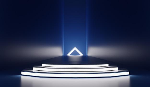 Sfondo moderno futuristico con palco vuoto. futuro moderno concetto di interni. rendering 3d.