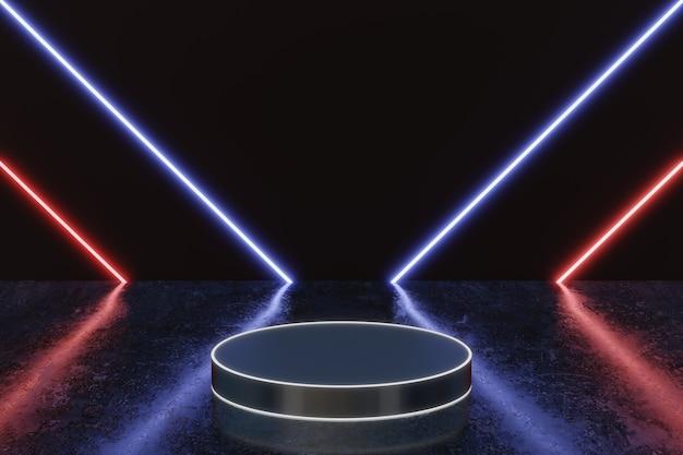 Futuristico palco di fondo del prodotto di luce al neon o piedistallo del podio sul pavimento della strada del grunge con bagliore