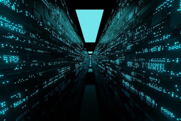 Rendering 3d di sfondo di server e supercomputer di data center di rete futuristica
