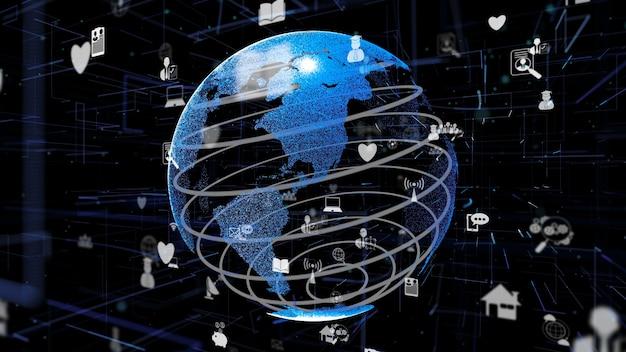 Futuristica rete internet in linea e internet delle cose concetto iot