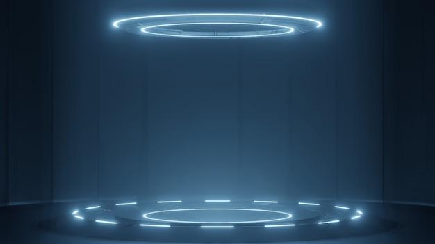 Podio futuristico con luce al neon incandescente