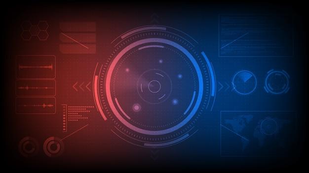 Monitor dello schermo radar futuristico, obiettivo di ricerca