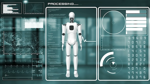 Robot futuristico, intelligenza artificiale cgi analisi e programmazione di big data