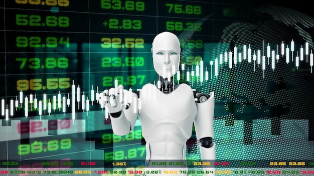 Robot futuristico, intelligenza artificiale cgi per il trading in borsa