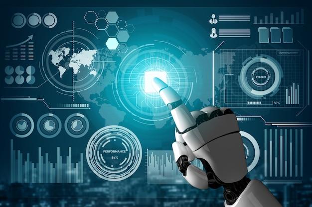 Robot futuristico concetto di intelligenza artificiale.