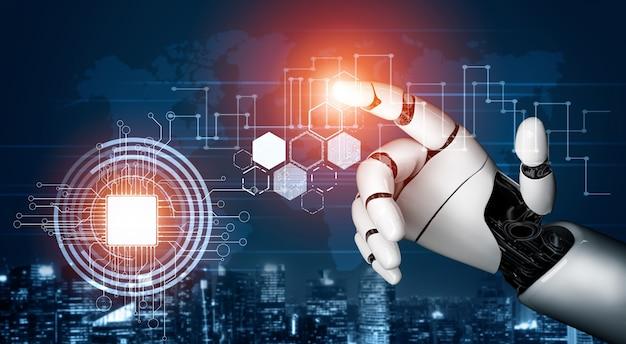 Concetto di intelligenza artificiale del robot futuristico.