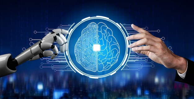 Concetto di intelligenza artificiale robot futuristico.