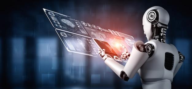Robot futuristico e analisi dei dati