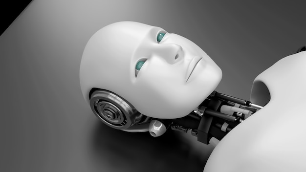 Robot futuristico sdraiato sul letto, intelligenza artificiale cgi su sfondo nero