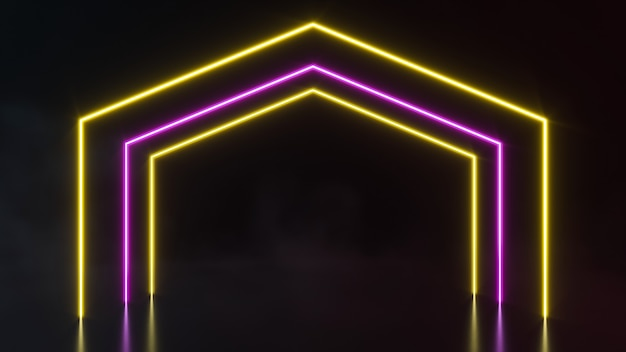 Futuristico sci fi forme astratte di luce al neon su sfondo nero. rendering 3d