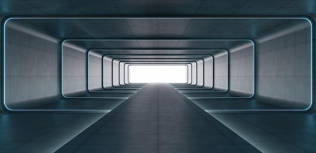Luci futuristiche del tubo al neon blu di fantascienza che emettono luce nella stanza concreta.