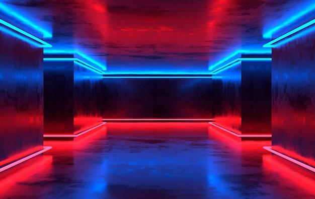 Futuristica stanza in cemento fantascientifico con neon incandescente